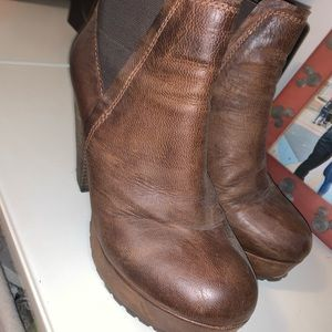 Distressed brown bootie